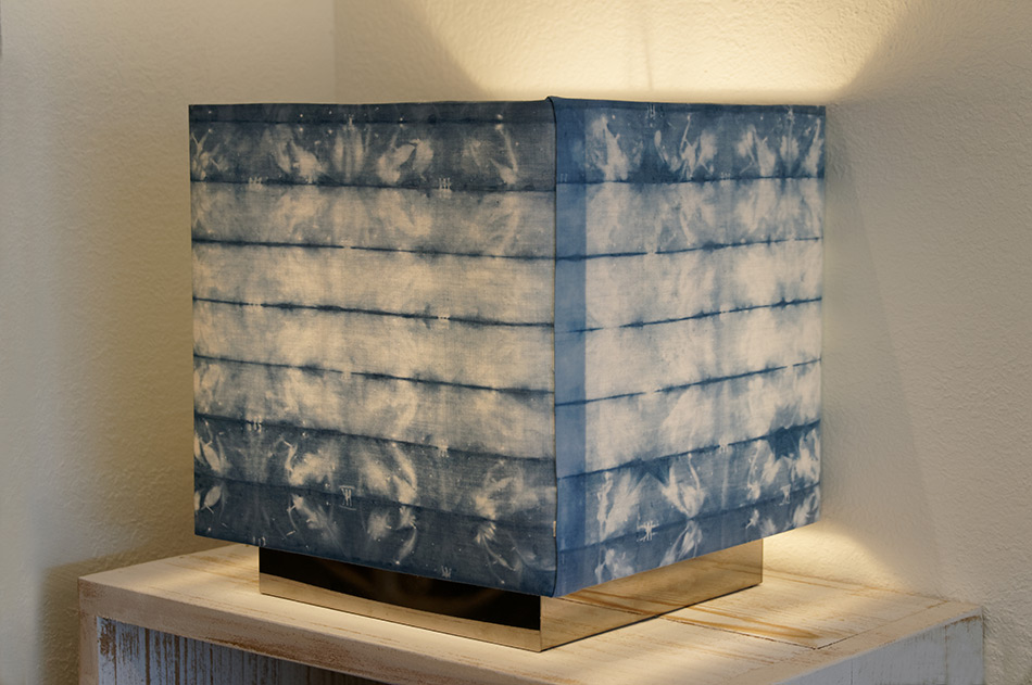 Indigo dyed lamp shade