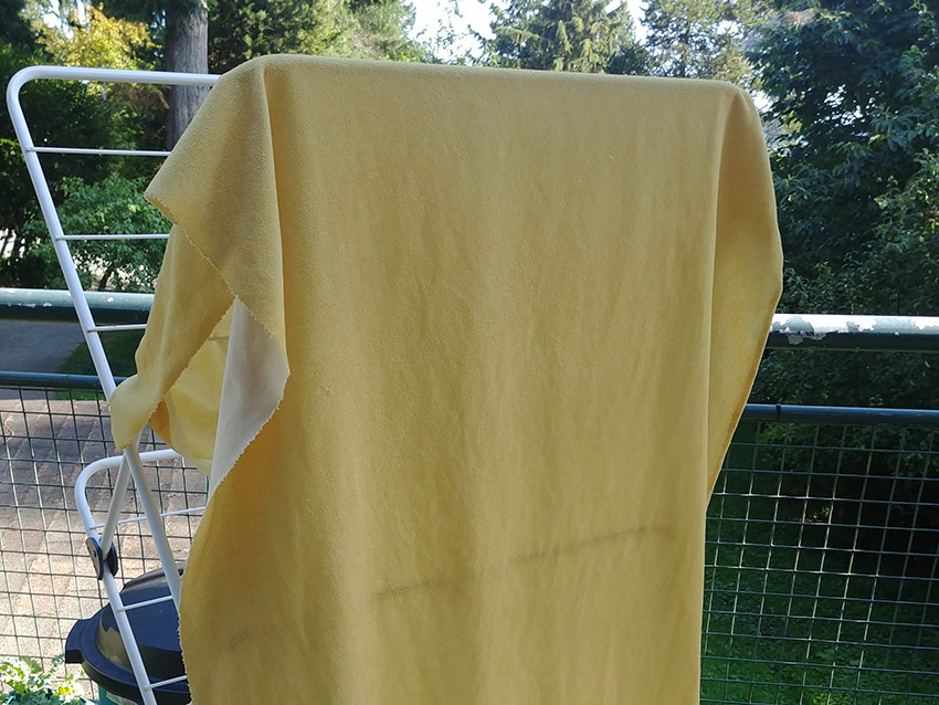 Yellow fabric dyed with natural dyes