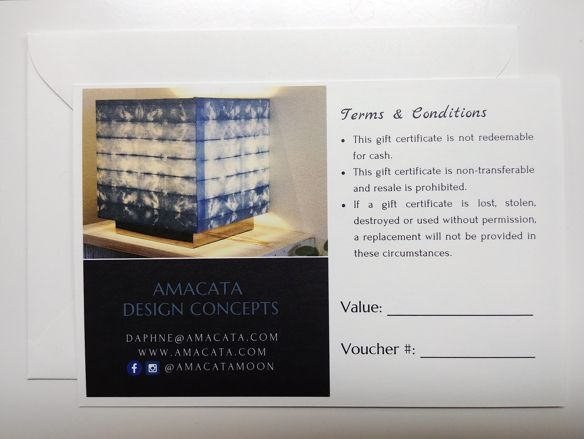 Amacata gift certificate